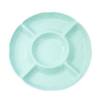 Кръгла пластмасова чиния с пет разделения в син, зелен, бежов и розов цвят