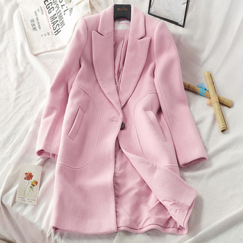 НОВО Актуално дамско палто с шпиц деколте и копче в розов, сив и цикламен цвят