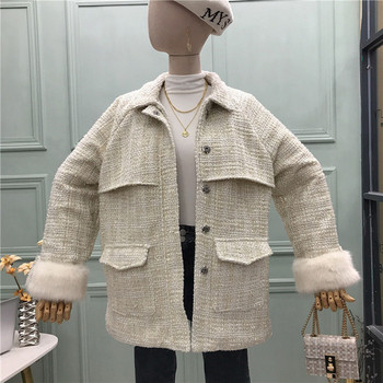 Модерно дамско палто с мека яка,джобове и колан в бял и черен цвят