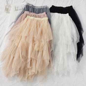 Модерна дамска пола в пет цвята с тюл и еластична талия