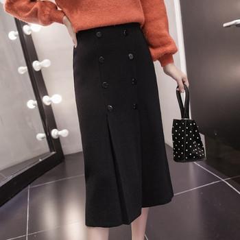Дълга плетена пола с копчета в бежов,кафяв и черен цвят