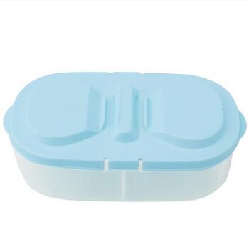 Пластмасова кутия с две разделения и капак за запазване свежестта на храната в жълт, розов, син и лилав цвят