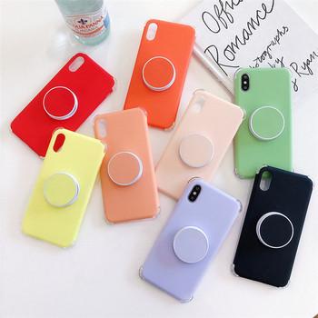Едноцветен силиконов калъф с пръстен за  Iphone X/XS в няколко цвята