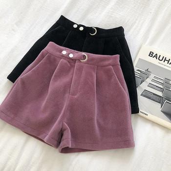 Къси дамски панталони широк модел в три цвята с висока талия