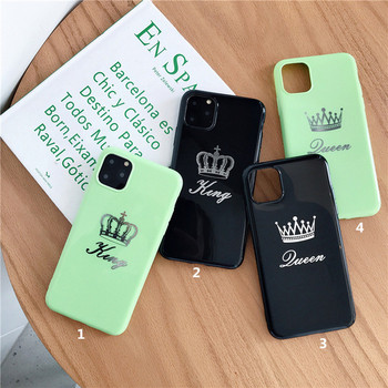 Калъф за  Iphone 11 Pro Max с надпис Queen и King в черен и зелен цвят - подходящ за двойки