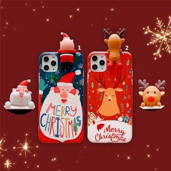 Коледен калъф с 3D елемент дядо Коледа и елен за Iphone 11 Pro Max