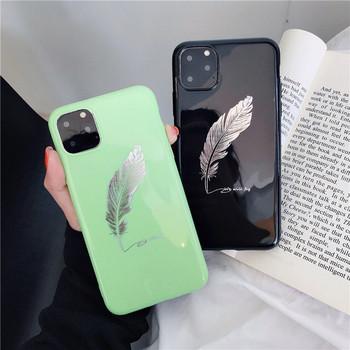 Силиконов калъф с перо в черен и зелен цвят за Iphone 11 Pro Max