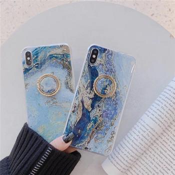 Силиконов калъф с лъскави частици + пръстен в син цвят за Iphone X/XS