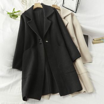 Дамски стилно палто с копче и шпиц деколте в черен ,червен и бежов цвят