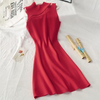 Дамска модерна рокля с ниска яка в жълт,червен и черен цвят