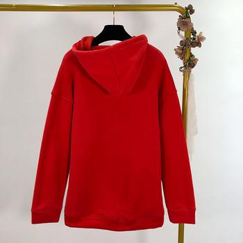 Дамски суичър с качулка в сив,черен и червен цвят