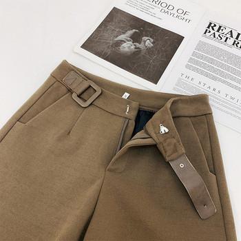 Къси дамски зимни панталони с висока талия и колан
