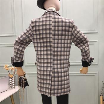 Дамско зимно карирано палто с копчета в черен и сив цвят