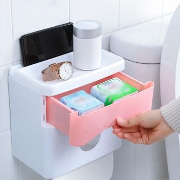 Водоустойчив шкаф за хартия и чекмедже за съхранение на тоалетни принадлежности в розов и син цвят