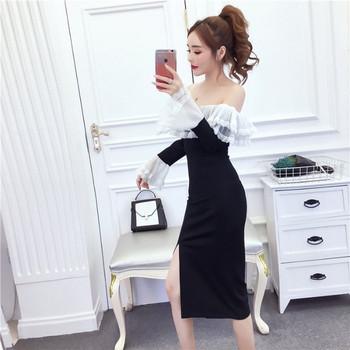 Дамска рокля с голи рамене,тюл и дантела Slim модел в черен цвят