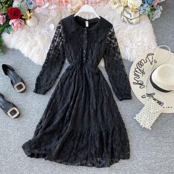 Дамска дълга дантелена рокля с копчета в черен,бежов и бял цвят