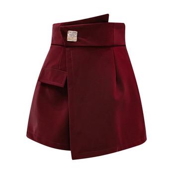 Модерни къси дамски панталони с висока талия в черен,бордо и бежов цвят