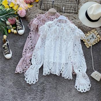 Дамска дантелена блуза с копчета в бял,черен,розов и бежов цвят