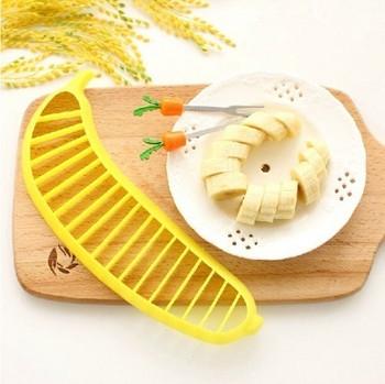 Комплект от два броя пластмасов уред за рязане на банан в жълт цвят