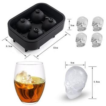 Силиконова форма за четири броя лед в черен цвят - Череп