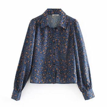 Дамска есенно-зимна риза с класическа яка и копчета в син цвят и флорален принт