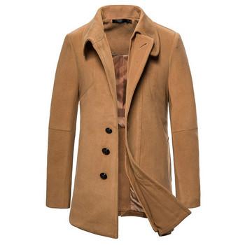 Ανδρικό χειμερινό παλτό  με κουμπιά και ψηλό  γιακά σε καφέ χρώμα
