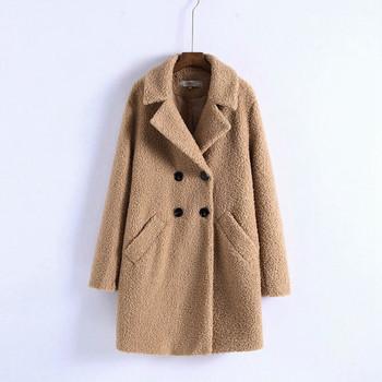 Топло есенно-зимно дълго палто прав модел с копчета в червен и бежов цвят