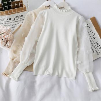 Модерен дамски пуловер с висока яка и ръкави от тюл в няколко цвята