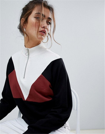 Ежедневен дамски суичър с цип и висока яка в черен цвят