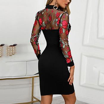 Модерна дамска къса рокля с бродерия и дълъг ръкав в черен цвят