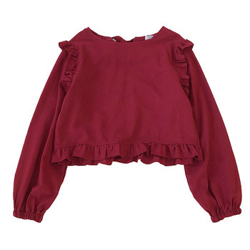 Μοντέρνα γυναικεία μπλούζα φαρδύ μοντέλο με στρογγυλό ντεκολτέ και βολάν
