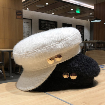 Γυναικείο καπέλο βελούδου με μεταλλικό στοιχείο σε λευκό, μαύρο και ροζ χρώμα