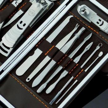 Σετ από 12 εργαλεία από ανοξείδωτο ατσάλι για στυλ μανικιούρ + καφέ έκο δερμάτινη θήκη