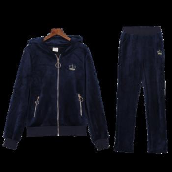 Νέο μοντέλο χειμωνιάτικου σετ με φερμουάρ και κουκούλα σε μπλε και μαύρο χρώμα