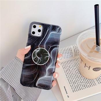 Силиконов калъф с мраморен ефект + пръстен за Iphone 11 Pro Max