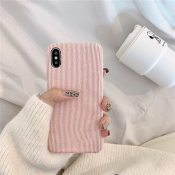 Плюшен твърд калъф за Iphone X/XS в червен,оранжев,кафяв и розов цвят