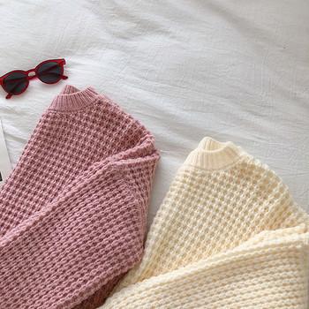Γυναικείο πουλόβερ φαρδύ μοντέλο σε τρία χρώματα με στρογγυλη λαιμόκοψη