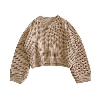 Дамски пуловер широк модел в три цвята с обло деколте