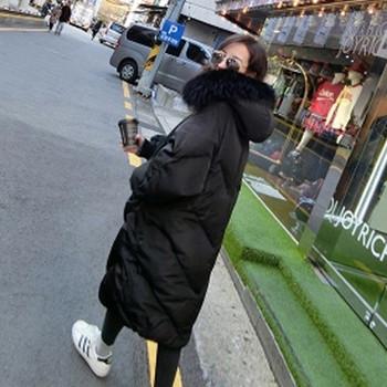 Дамско зимно дълго  яке  с качулка свободен модел в черен и сив цвят