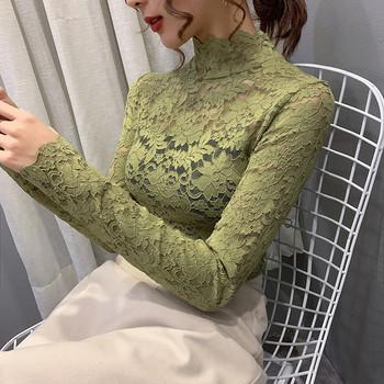 Дантелена дамска блуза в пет цвята с дълъг ръкав и висока яка