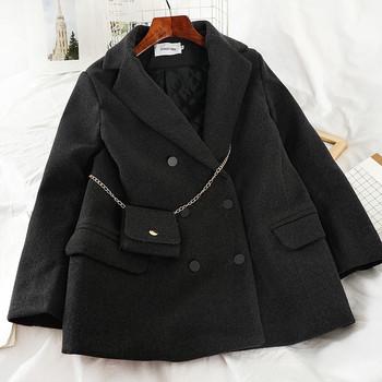 Стилно дамско палто с копчета и джобове в кафяв,черен и бежов цвят