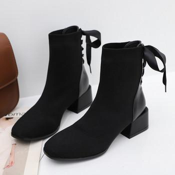 Дамски модерни боти с дебел ток и връзка в черен цвят подходящи за зимата