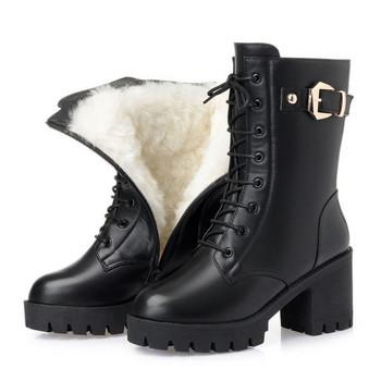Καθημερινές  γυναικείες μπότες με μαλακή επένδυση και πόρπη με μαύρους δεσμούς