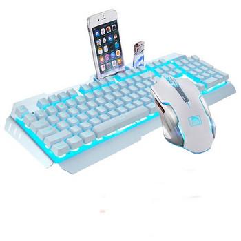 Геймърски комплект от кабелни клавиатура и мишка с LED светлини в бял цвят
