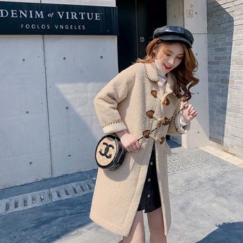 Стилно дамско палто в бежов,бял и зелен цвят с джобове и копчета