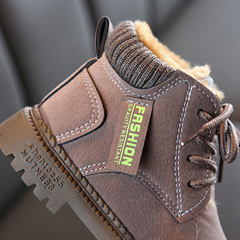 Παιδικές χειμωνιάτικες μπότες με μαλακή επένδυση για αγόρια σε καφέ, μαύρο και γκρι χρώμα