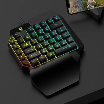 Геймърски комплект от мишка и клавиатура с LED светлини в черен цвят