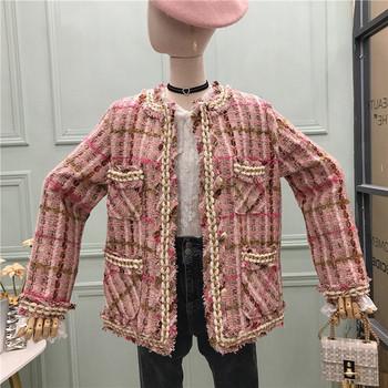 Дамско карирано палто с копчета и джобове -ретро стил в розов и зелен цвят