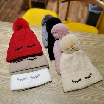 Зимна дамска шапка с мека подплата и пух в бял,бежов,розов,червен,черен и кафяв цвят