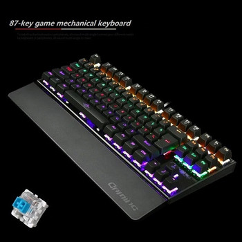 Механична геймърска USB клавиатура с 87 клавиша и LED светлина в черен цвят